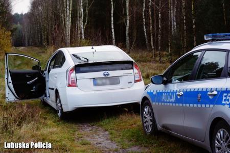 Odzyskany samochód w lesie